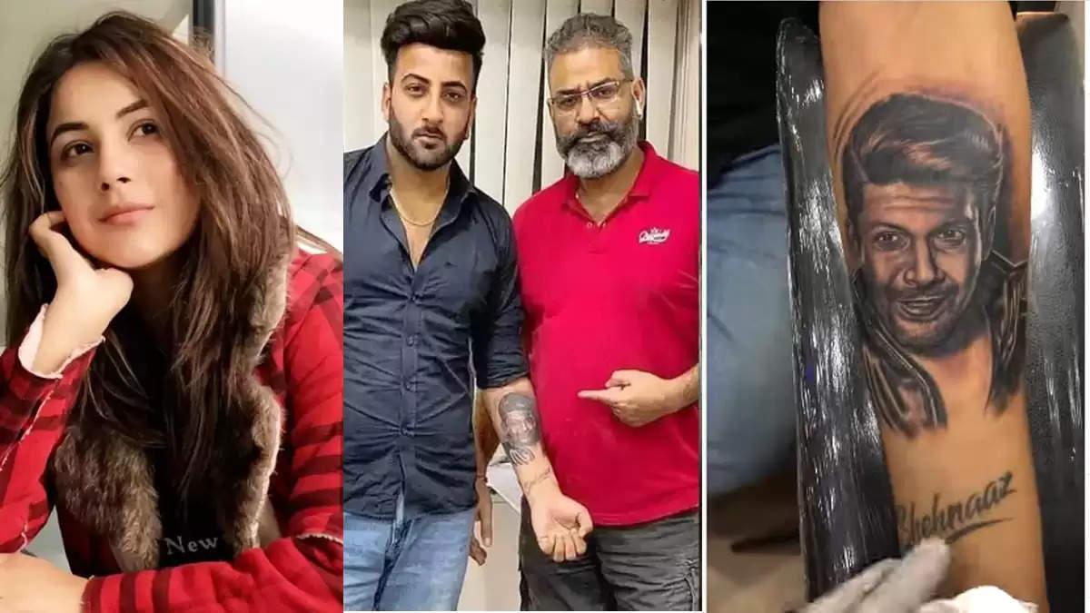 shehnaaz gill brother shehbaz got sidharth shukla face tattooed